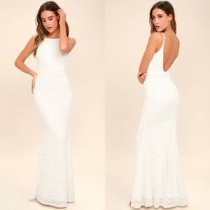 Lulus Ephemeral Allure White Lace Maxi Dress S